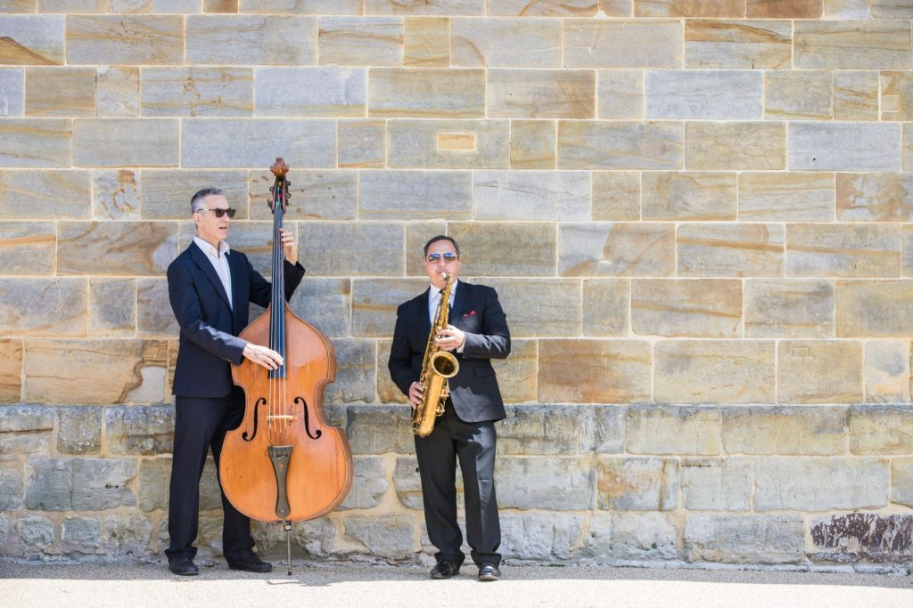 Jeremy's colleagues, a Double Bass and Saxaphone duo entertained guests on the terrace during the drinks reception.