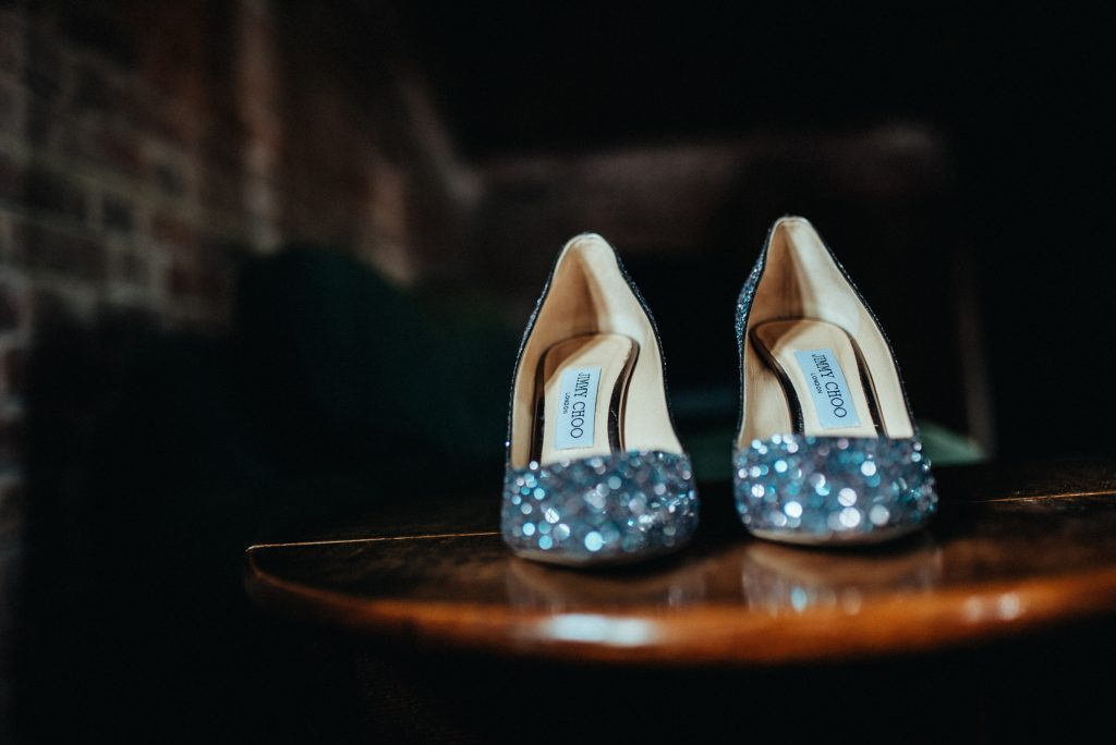 Sparkly wedding shoes at Hendall Manor Barns