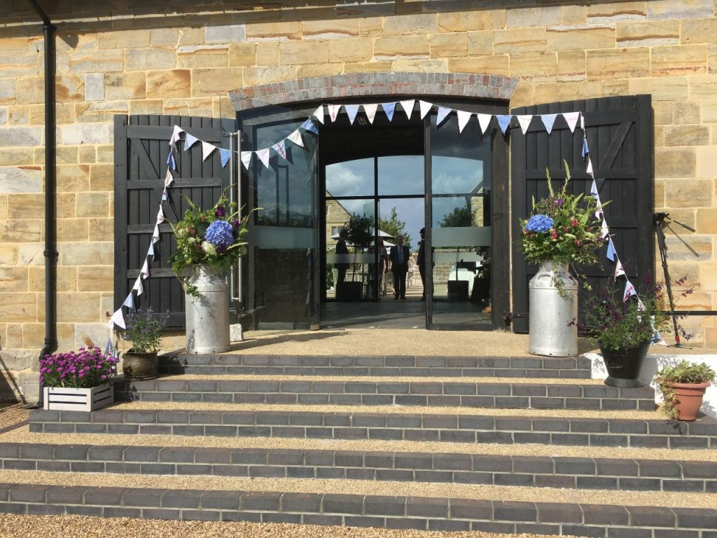 Wedding Bunting adorning the Main Entrance to Hendall